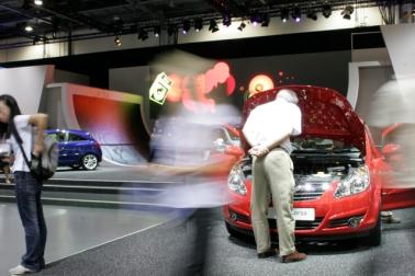 Large animation behind car