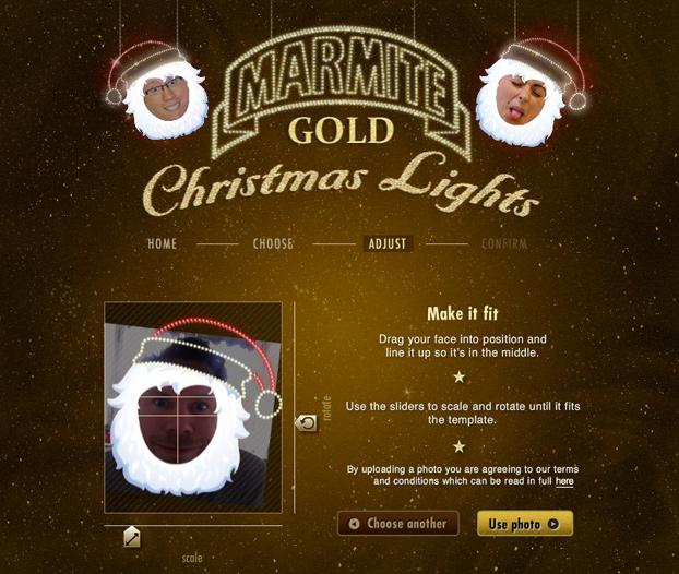 Marmite Facebook picture upload screen