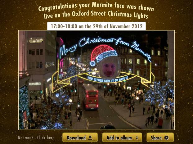Marmite Facebook live picture screen