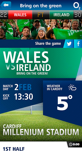 O2 Ireland Rugby mobile site